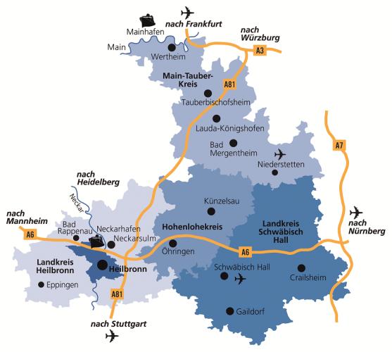 Region Heilbronn Franken Karte.Die Region Heilbronn Franken Proregion E V